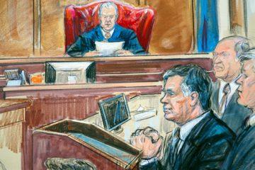 Courtroom sketch of Paul Manafort listening to U.S. District court Judge T.S. Ellis III