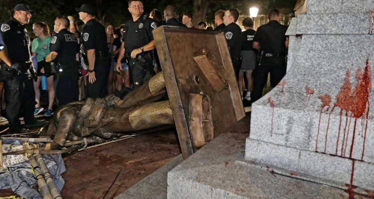 """Photo of toppled """"Silent Sam"""" statue at UNC after protest"""