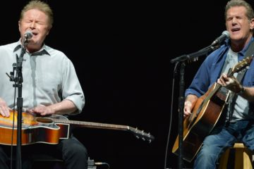 Photo of Don Henley and Glenn Frey of the Eagles performing in Los Angeles in 2014