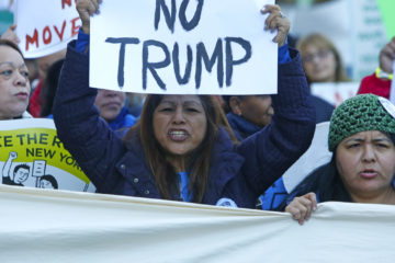 Picture of Latino immigrants protesting against President Donald Trump