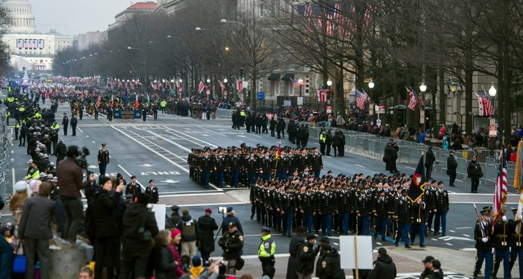 Photo of military units participating in the inaugural parade from the Capitol to the White House in 2017