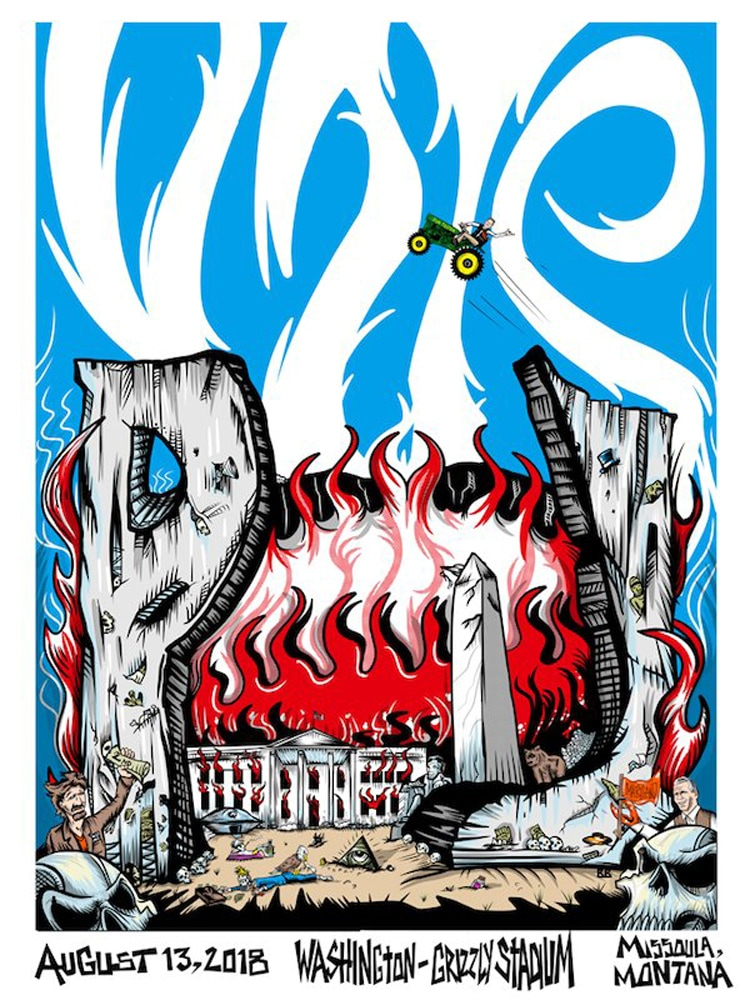 Photo of Pearl Jam poster depicting the White House in flames