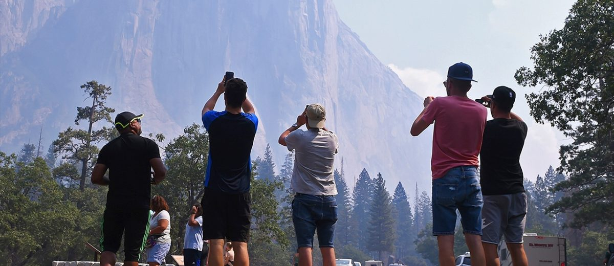 Photo of tourists after the reopening of Yosemite National Park