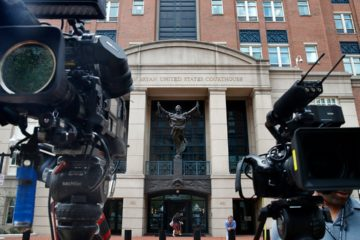 Photo of cameras outside the courtroom of the Manafort Trial
