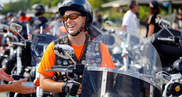 Photo of Gov. Scott Walker before riding in the Harley-Davidson 110th Anniversary Parade in Milwaukee