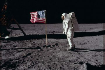 Photo of Buzz Aldrin with American flag on the moon, 1969
