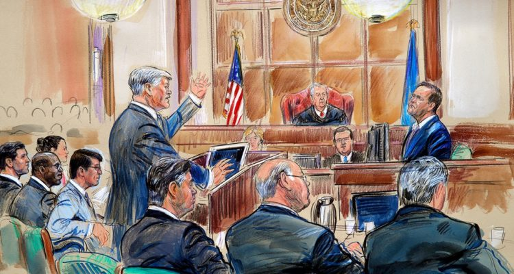 Photo of courtroom sketch of Rick Gates getting questioned by Kevin Downing in Manafort Trial