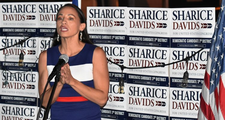 Photo of Sharice Davids addressing her supporters in Kansas