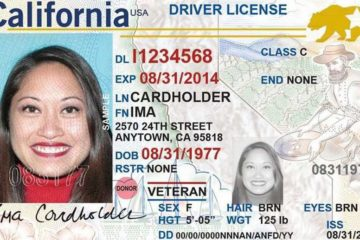 Example of a California Real ID card