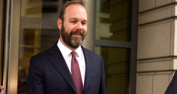 File photo of Rick Gates leaving federal court in Feb. 2018