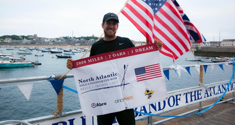 Photo of Bryce Carlson after rowing across the Atlantic