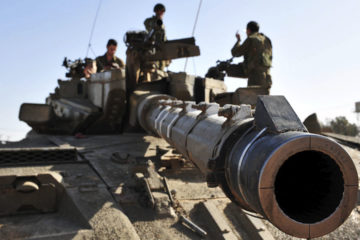 Israeli military tank leaving Gaza with crew following Operation Cast Lead