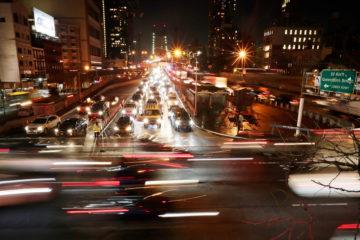 Photo of New York City traffic at night