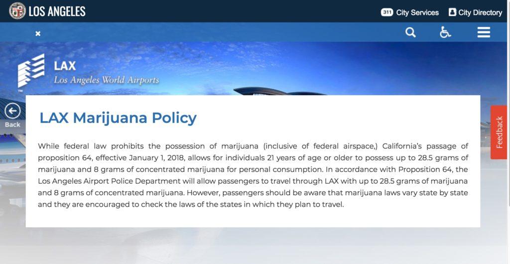 Screenshot of LAX Marijuana Policy
