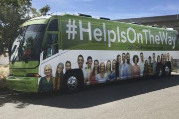 John Cox campaign bus stops in Fresno