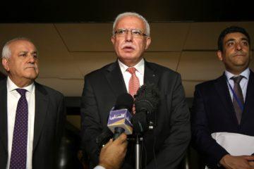 Photo of Riyad al-Maliki speaking to reporters