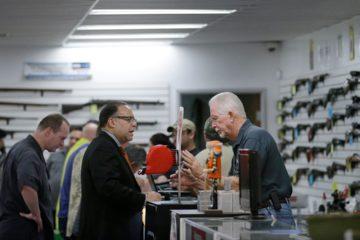 Photo of customers at Bullseye Sports gun shop