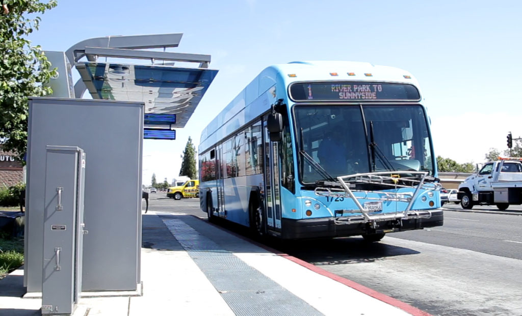 Photo of a Fresno BRT bus
