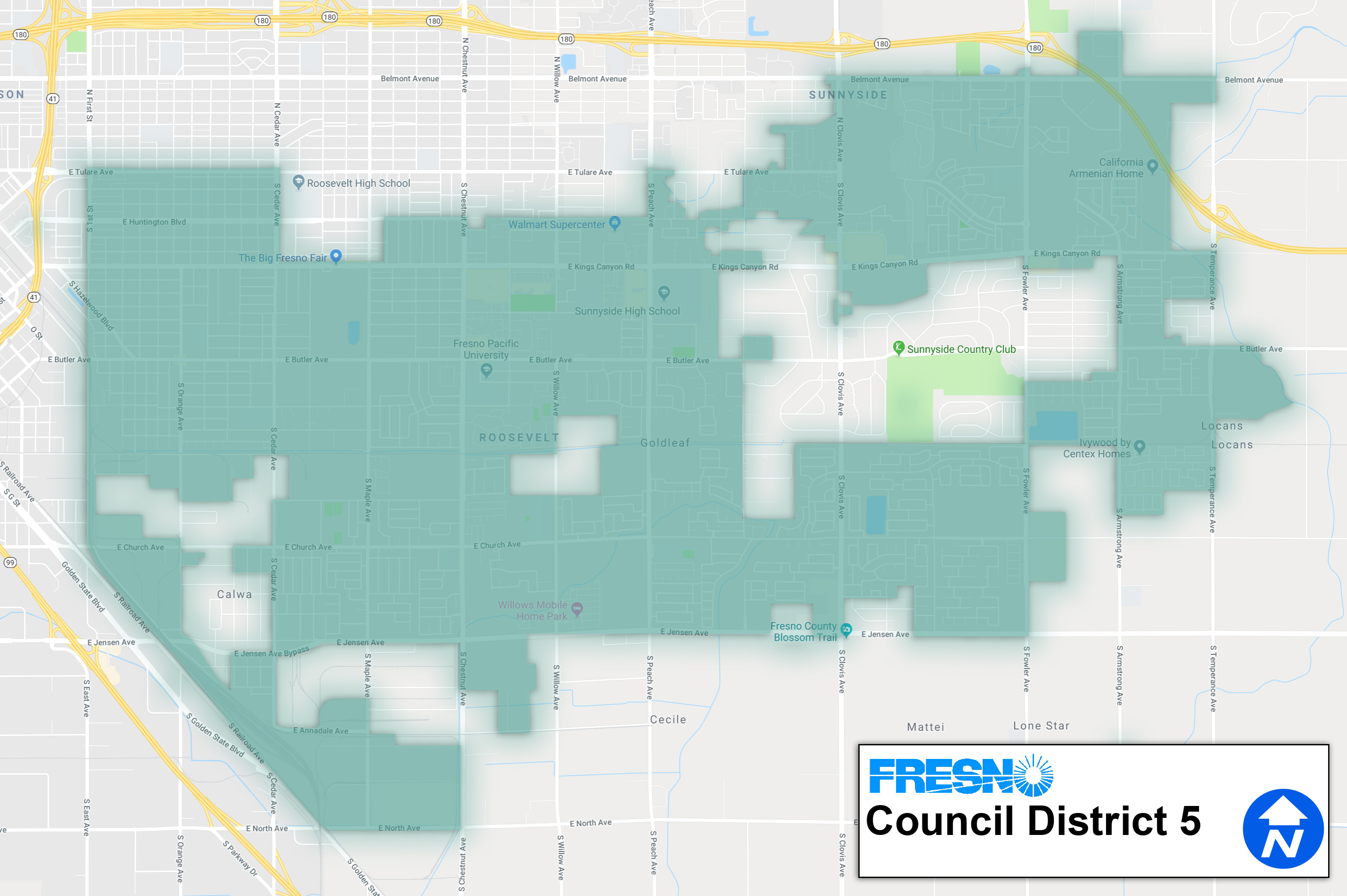 Map of Fresno City Council District 5
