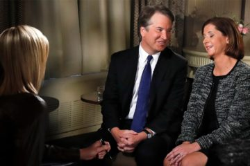 Photo of Brett and Ashley Kavanaugh during TV interview with Fox News