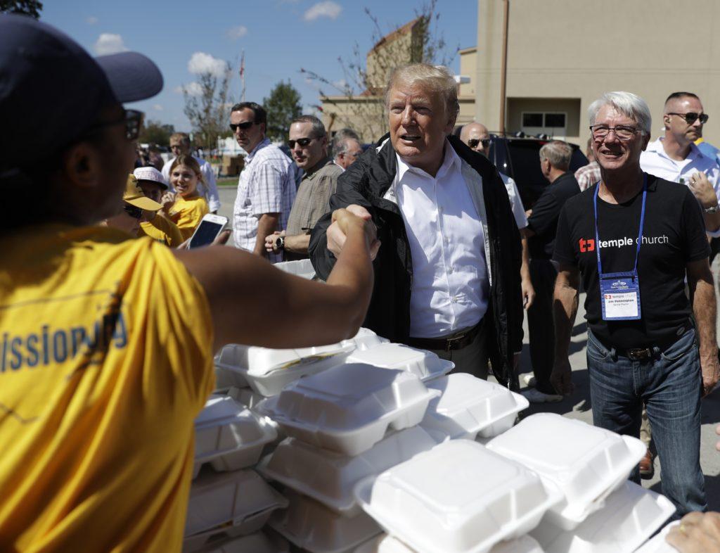 Photo of President Donald Trump in North Carolina visiting Hurricane Florence victims