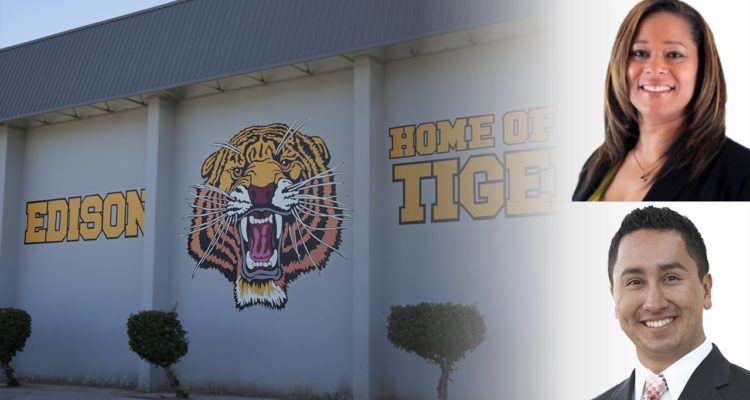 Photo Illustration of Edison High School sign with school board candidates Keshia Thomas and Robert Fuentes