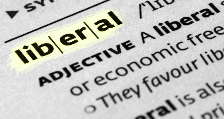 Dictionary page with definition of Liberal displayed