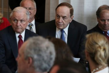 Photo of Attorney General Jeff Sessions, left, U.S. Sen. Richard Shelby, R-Ala., and U.S. Sen. Doug Jones, D-Ala.