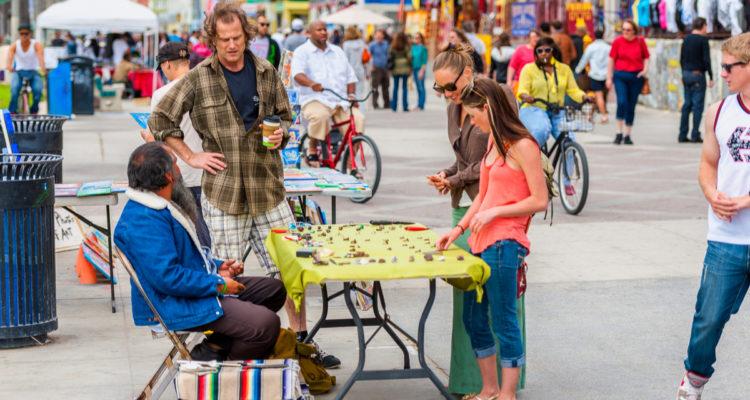 Photo of sidewalk vendors in Santa Monica, Calif.
