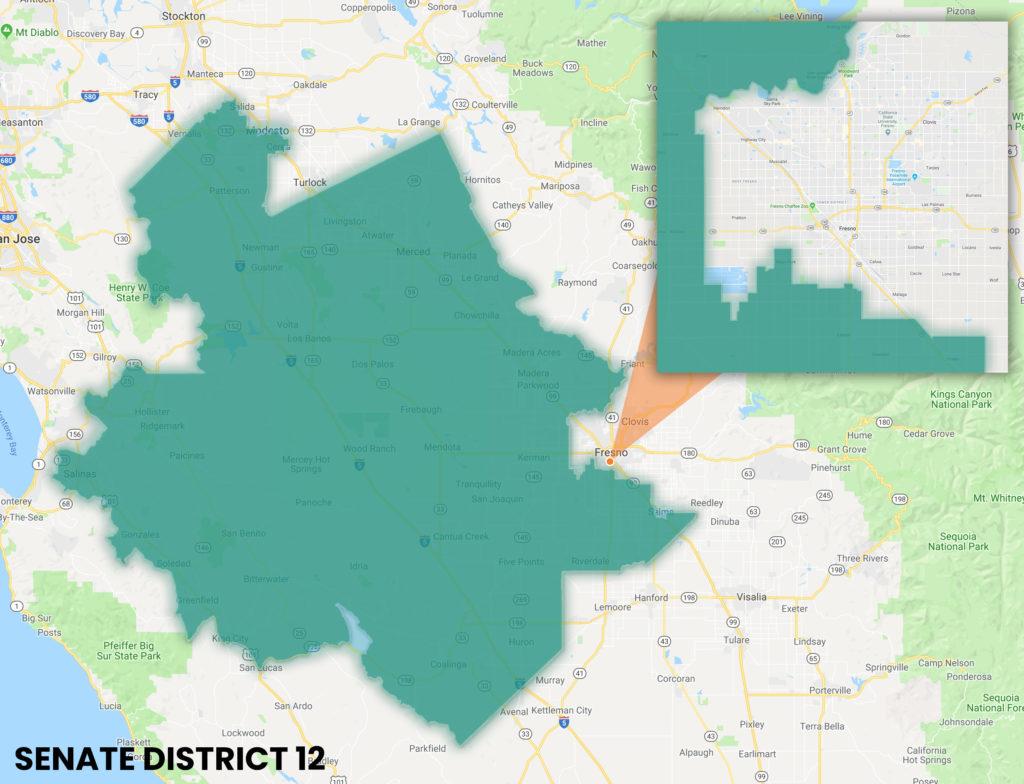Map showing Senate District 12 Boundaries