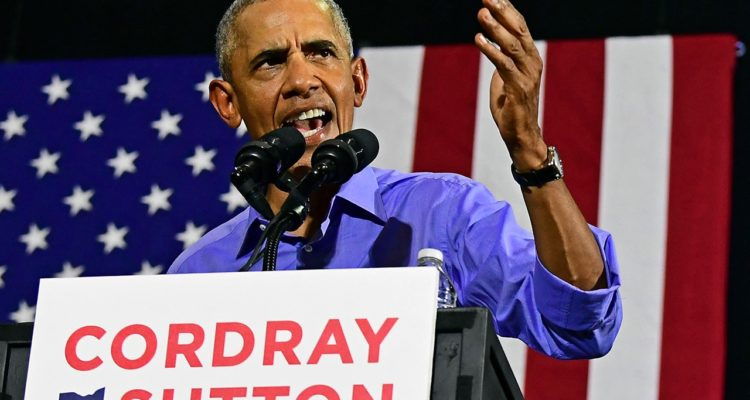 Photo of former President Barack Obama speaking at a campaign in Ohio