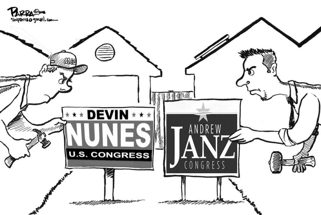 Parra editorial cartoon on Nunes-Janz race