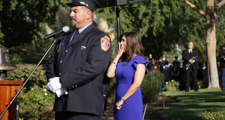 Photo of former New York City firefighter Andy Isolano and ABC 30 news anchor Margot Kim