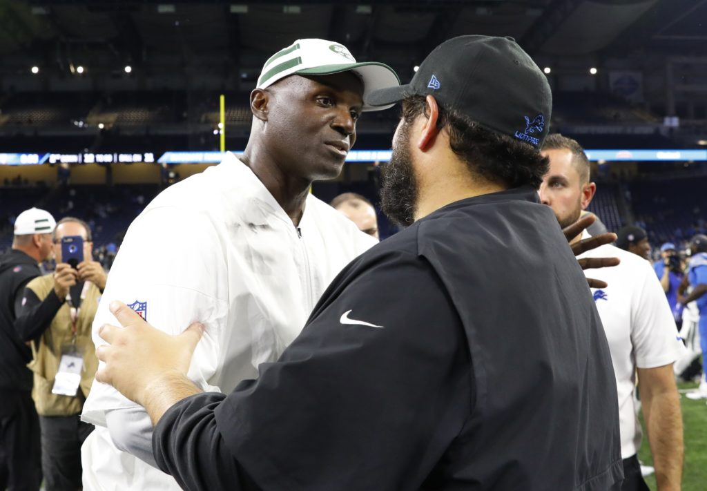 Photo of New York Jets head coach Todd Bowles, left, and Detroit Lions head coach Matt Patricia