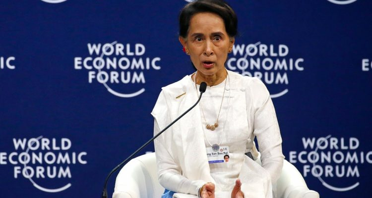 Photo of Aung San Suu Kyi, the State Counsellor of Myanmar