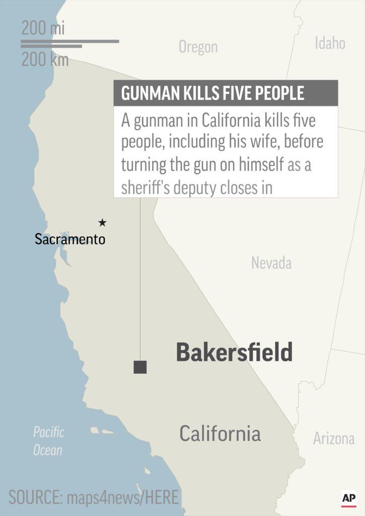 Photo of locator map of Bakersfield shootings