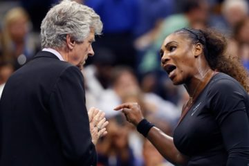 Photo of Serena Williams talking to referee Brian Earley during the women's final of the U.S. Open