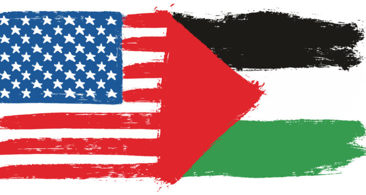 Painted illustration of U.S. and Palestinian flags