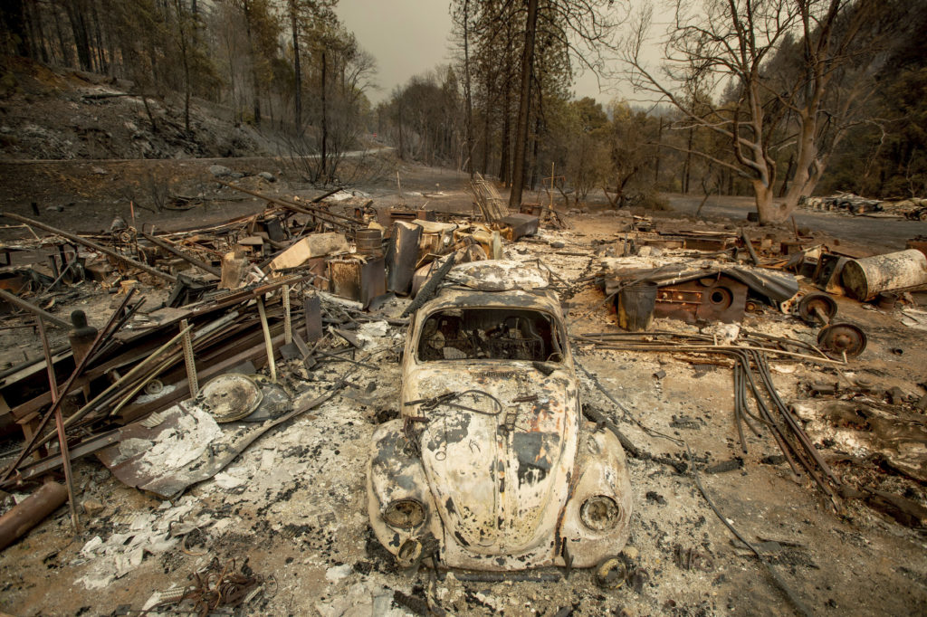 Photo of a scorched VW Beetle after being burned in Delta Fire