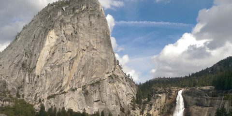 Photo of Nevada Fall near Liberty Cap as seen from the John Muir Trail in Yosemite National Park