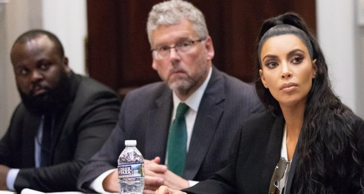 Photo of Kim Kardashian West at White House meeting in regard to prison reform
