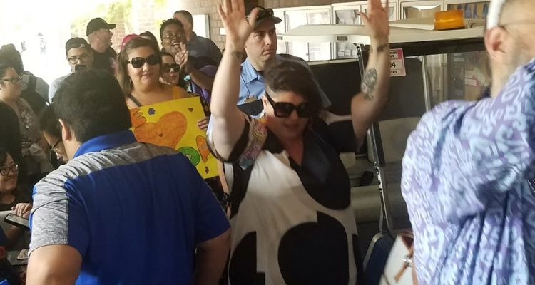 Photo of Randa Jarrar's return to a Fresno State classroom