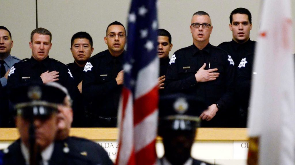 Photo of Fresno police officers being sworn in