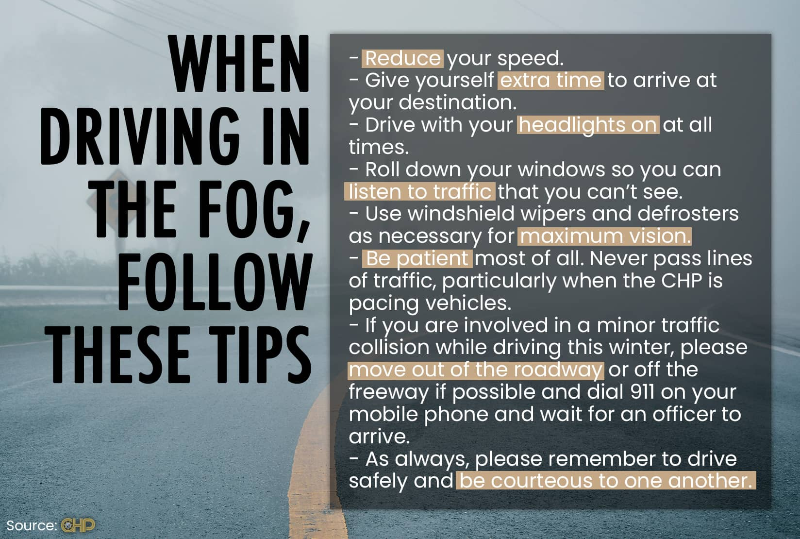 chart of tip for driving in fog