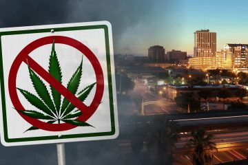 "Photo combination of Fresno skyline and ""No Marijuana"" sign"