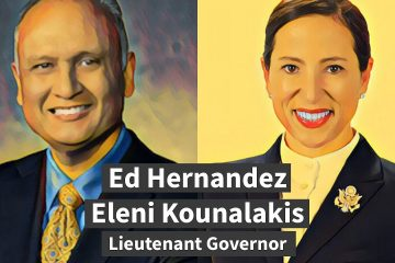 Illustration of Ed Hernandez and Eleni Kounalakis