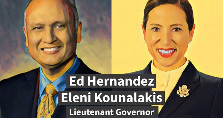 Illustration of Ed Hernandez and Eleni Kounalakis