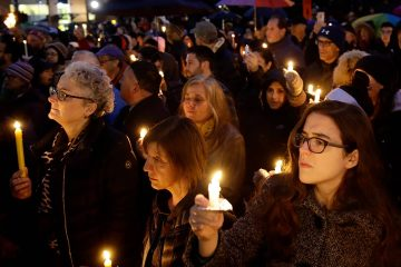 Photo of synagogue vigil in Pittsburgh