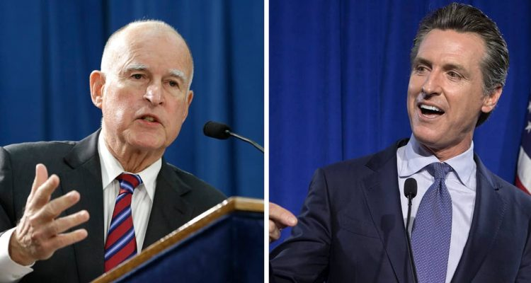 Photo combination of Jerry Brown and Gavin Newsom