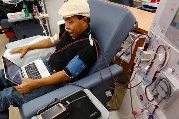 Photo of Adrian Perez undergoing dialysis in Sacramento
